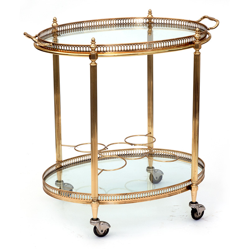 Compact antique brass oval drinks trolley with removable tray c.1920