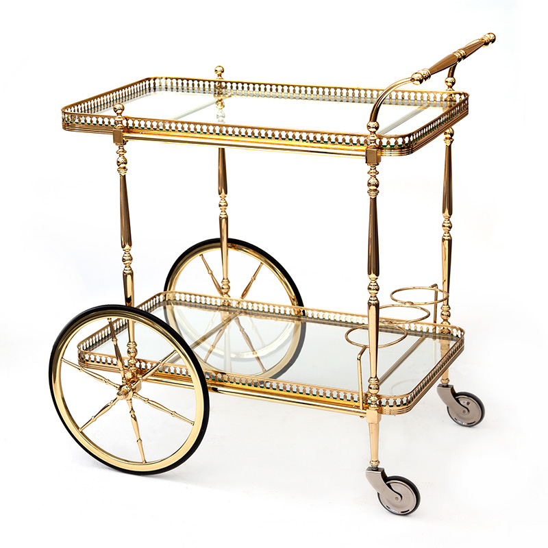 Brass penny farthing bar cart with integrated bottle holder (c.1940)