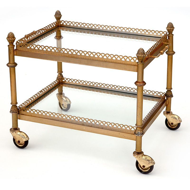 Vintage miniature French two tier drinks trolley with acorn finials and removable tray. (c.1930)