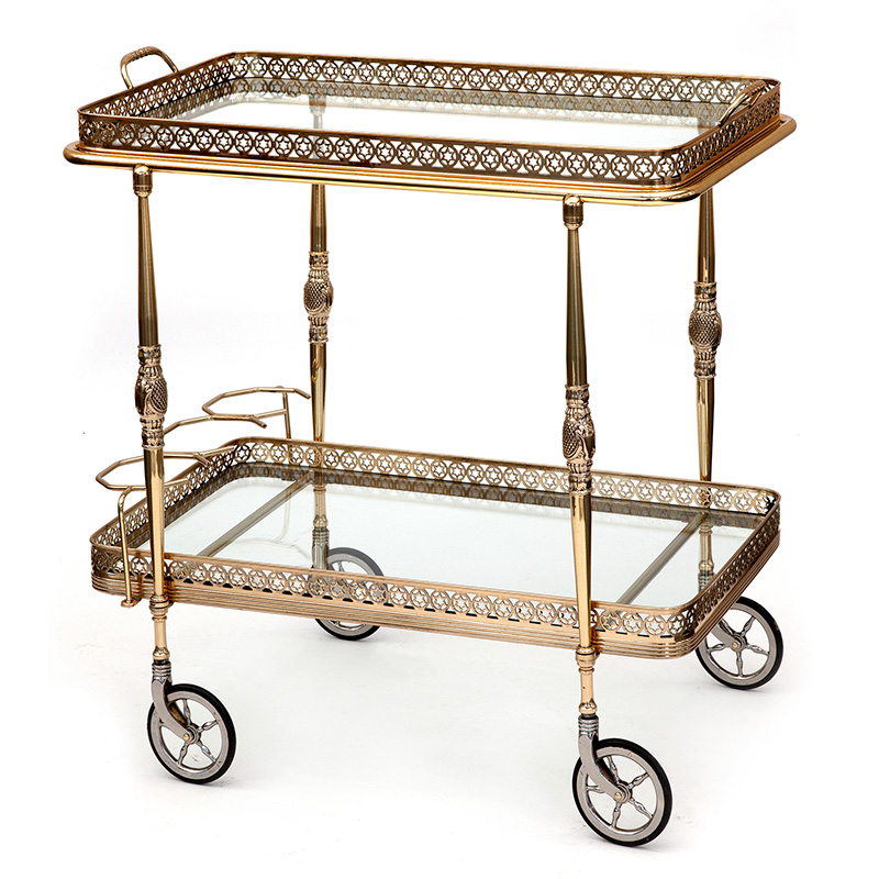 Rectangular French Brass Drinks Trolley with Artillery Wheels