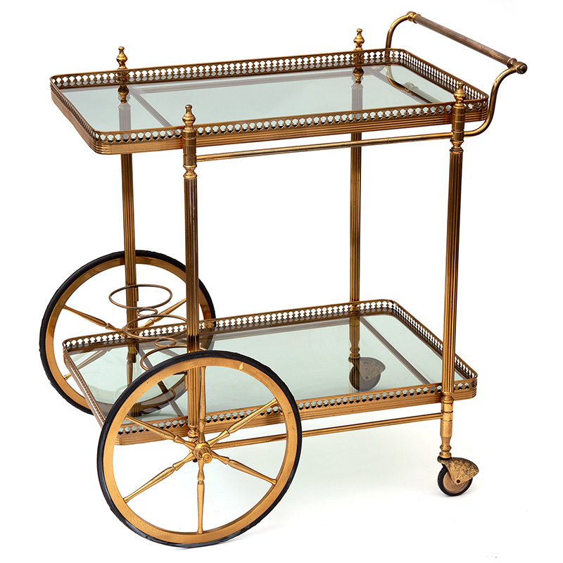 Original Condition Vintage French Brass bar Cart with Smoked Glass Shelves