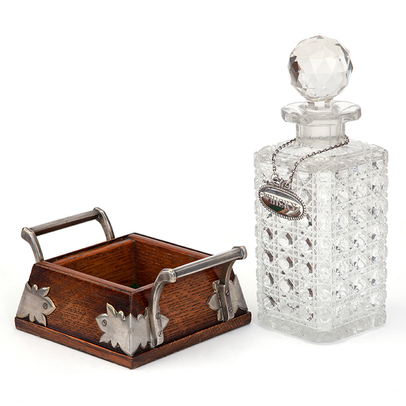 Heavy Cut Lead Glass Decanter on Fitted Silver Plate Mounted Stand