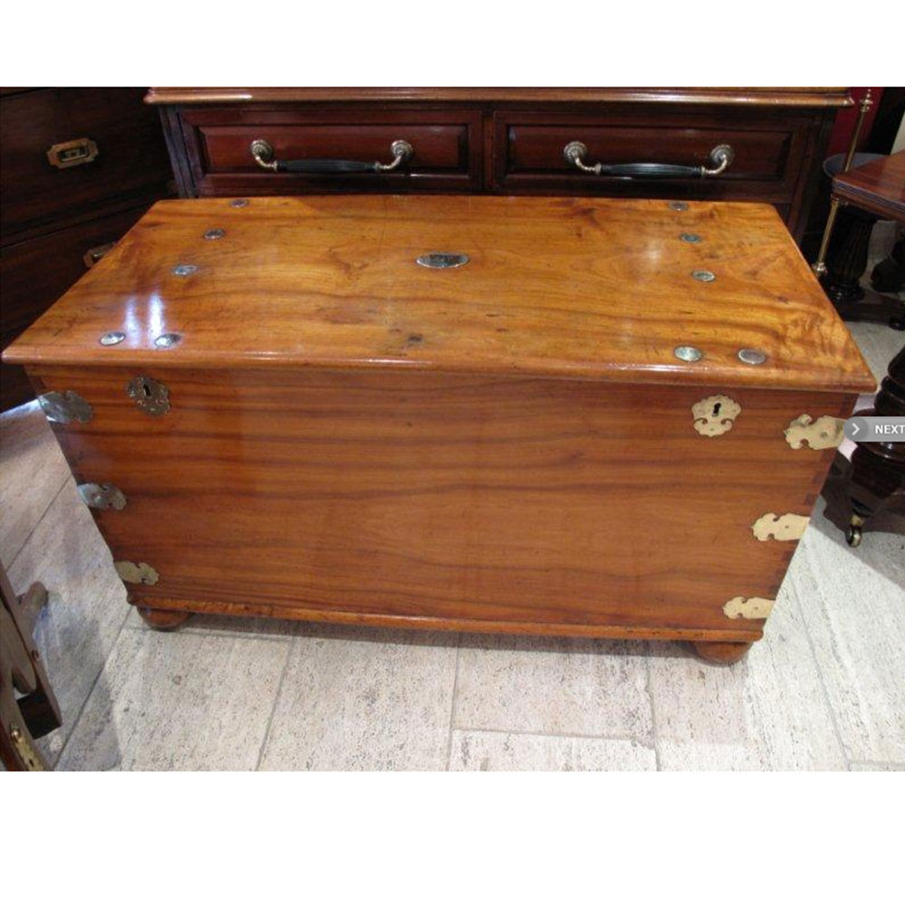 Enormous antique brass bound camphor wood chest on original bun feet. (c.1880)