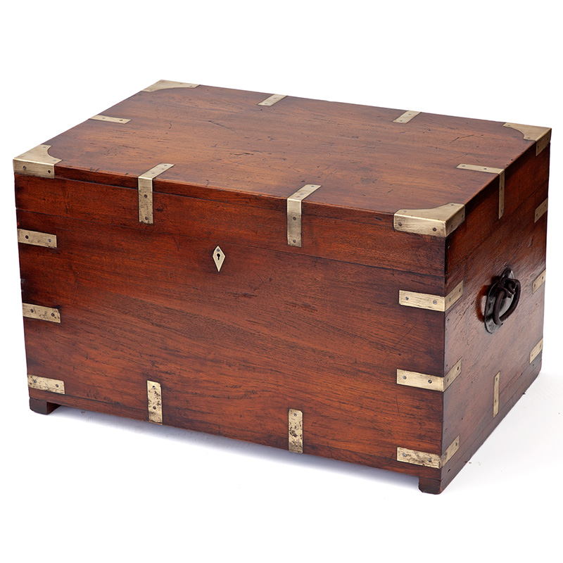 Super quality brass bound heavy duty camphor wood chest with cast iron carrying handles. (c.1860).