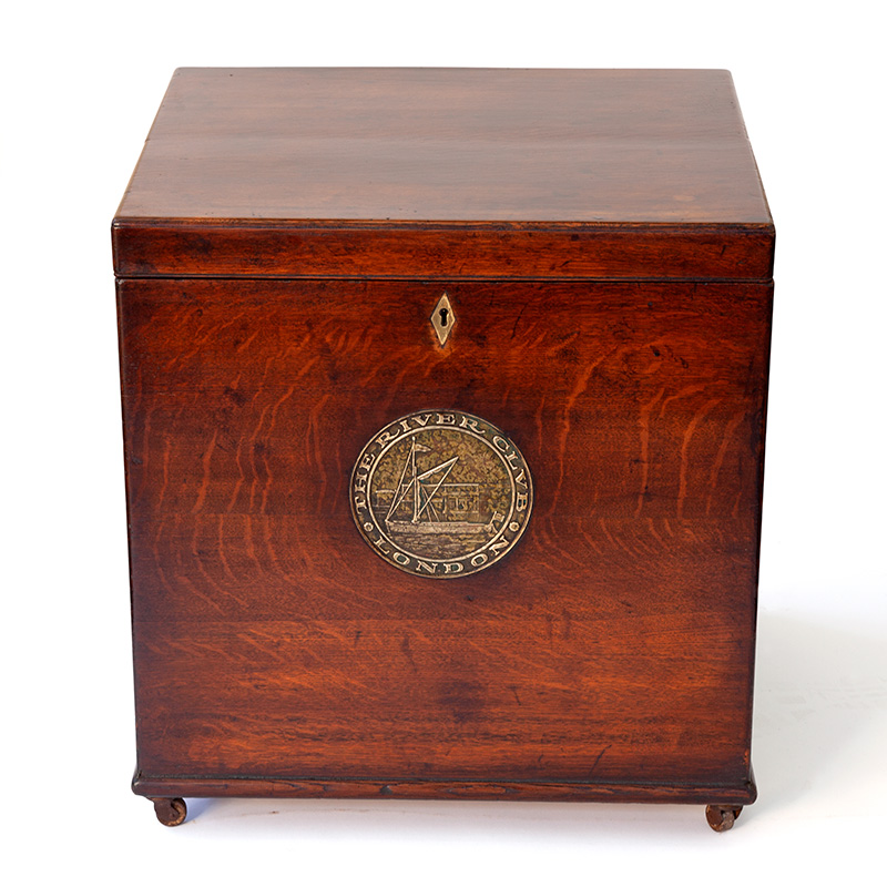 Large Polished Oak Brass Mounted Storage Box with Inset Brass Plaque (c.1900)