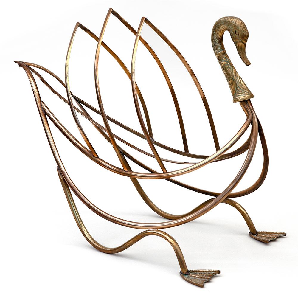 Maison Jansen Brass Swan Magazine Rack
