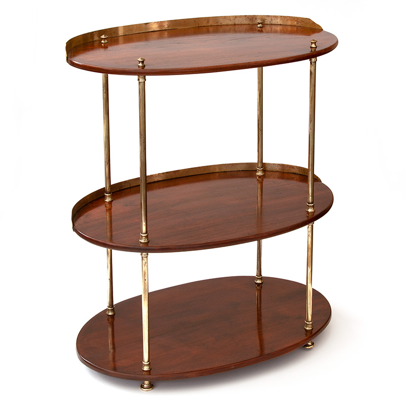 Polished Walnut and Brass Mounted Campaign Washstand