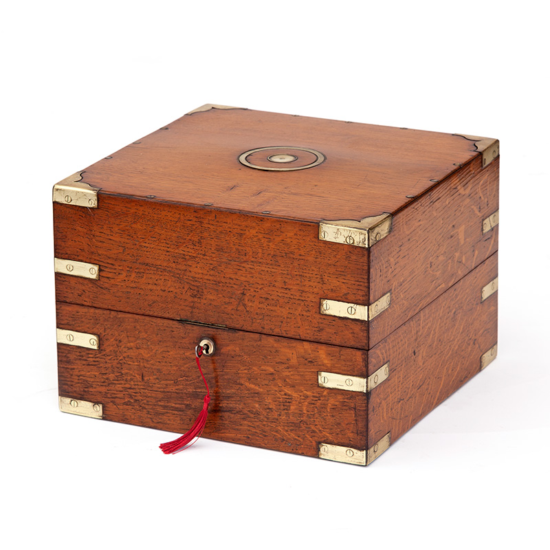 Oak Campaign Style Brass Mounted Box with Removable Sectioned Interior. (c.1860)