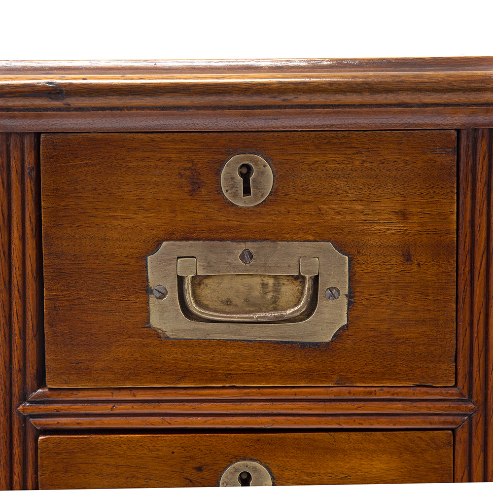 Small Two Section Camphor Wood Brass Mounted Campaign Secretaire