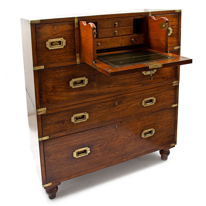 Antique brass mounted oak two section campaign chest with central secretaire (c.1880)