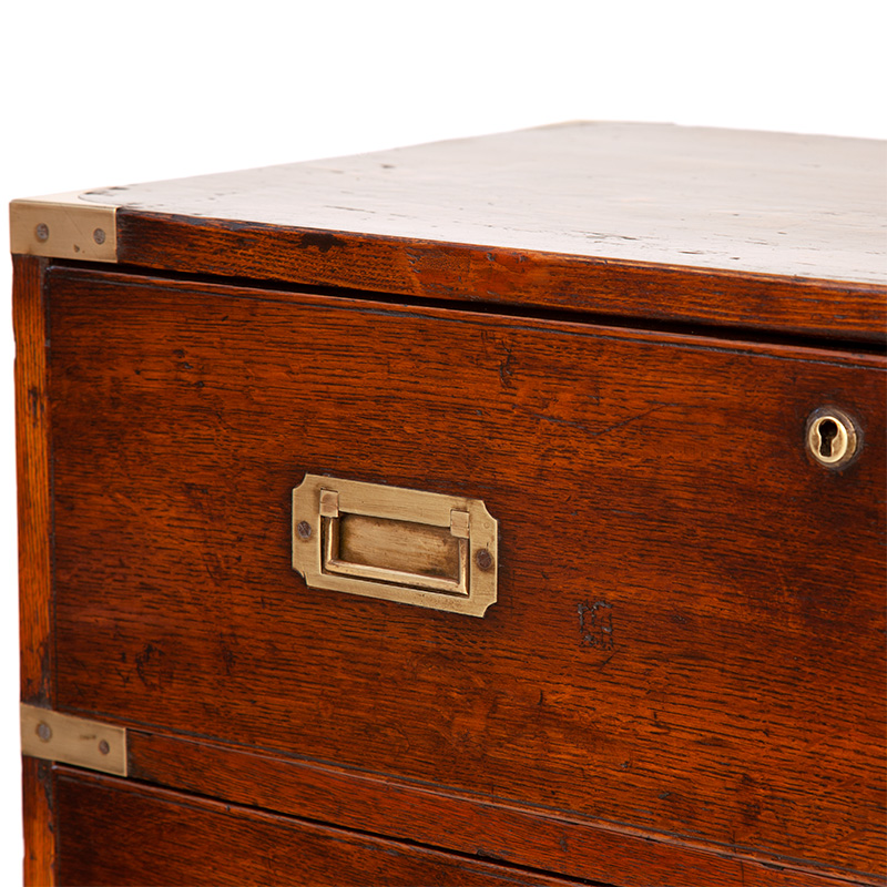 Unusual Single Section Brass Mounted Polished Oak Campaign Chest