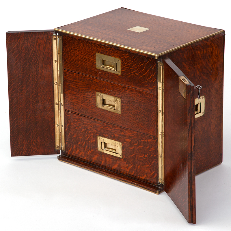 Brass Mounted Polished Oak Three Drawer Army & Navy Stores Campaign Humidor