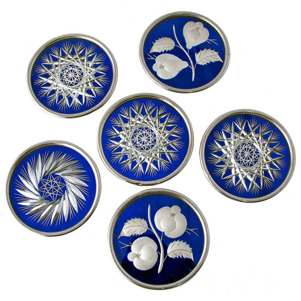 Six Bohemian Glass Wine Coasters with Silver Plated Rims