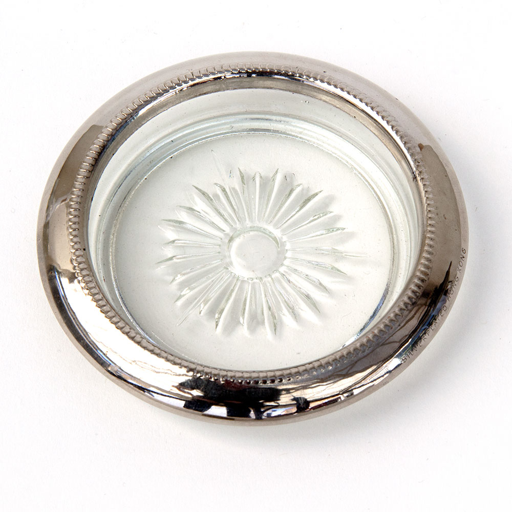 Set of 12 Cut Glass Coasters with Silver Plate Rims