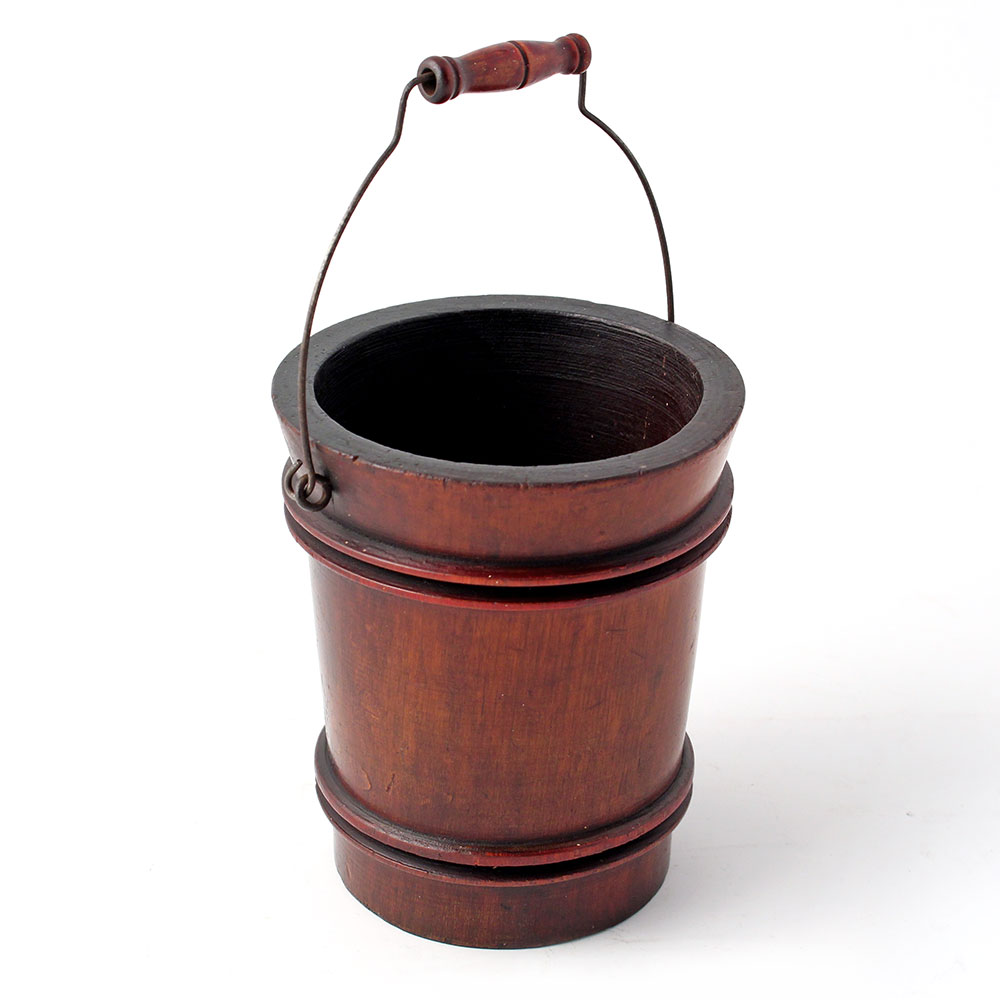 Turned Mahogany Miniature Bucket with Swing Handle