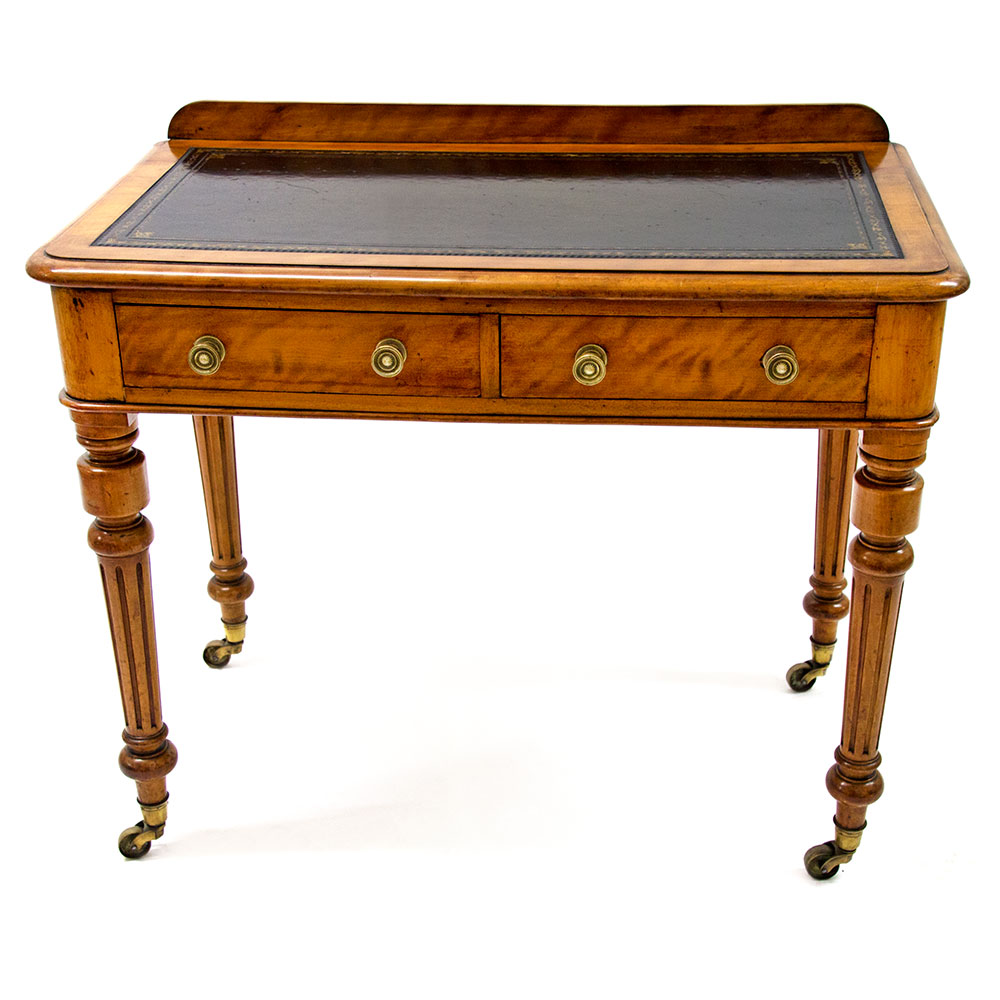 Antique Satin Birch Two Drawer Writing Table by J Shoolbred