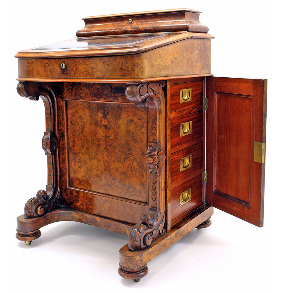 Superb Quality Antique Burr Walnut Davenport with Military Style Brass Handles
