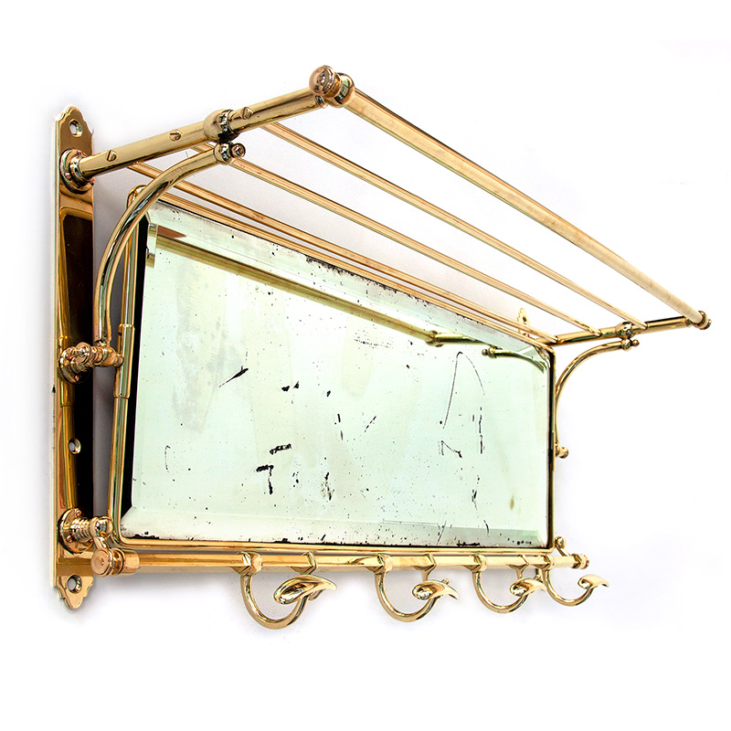 Large Antique Brass Mirrored Portmanteau Coat and Hat Rack with Bevelled Distressed Plate (c.1900)
