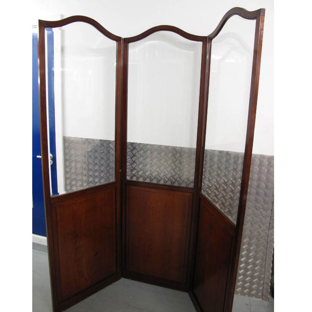 Antique Mahogany and Bevelled Glass Three Fold Screen