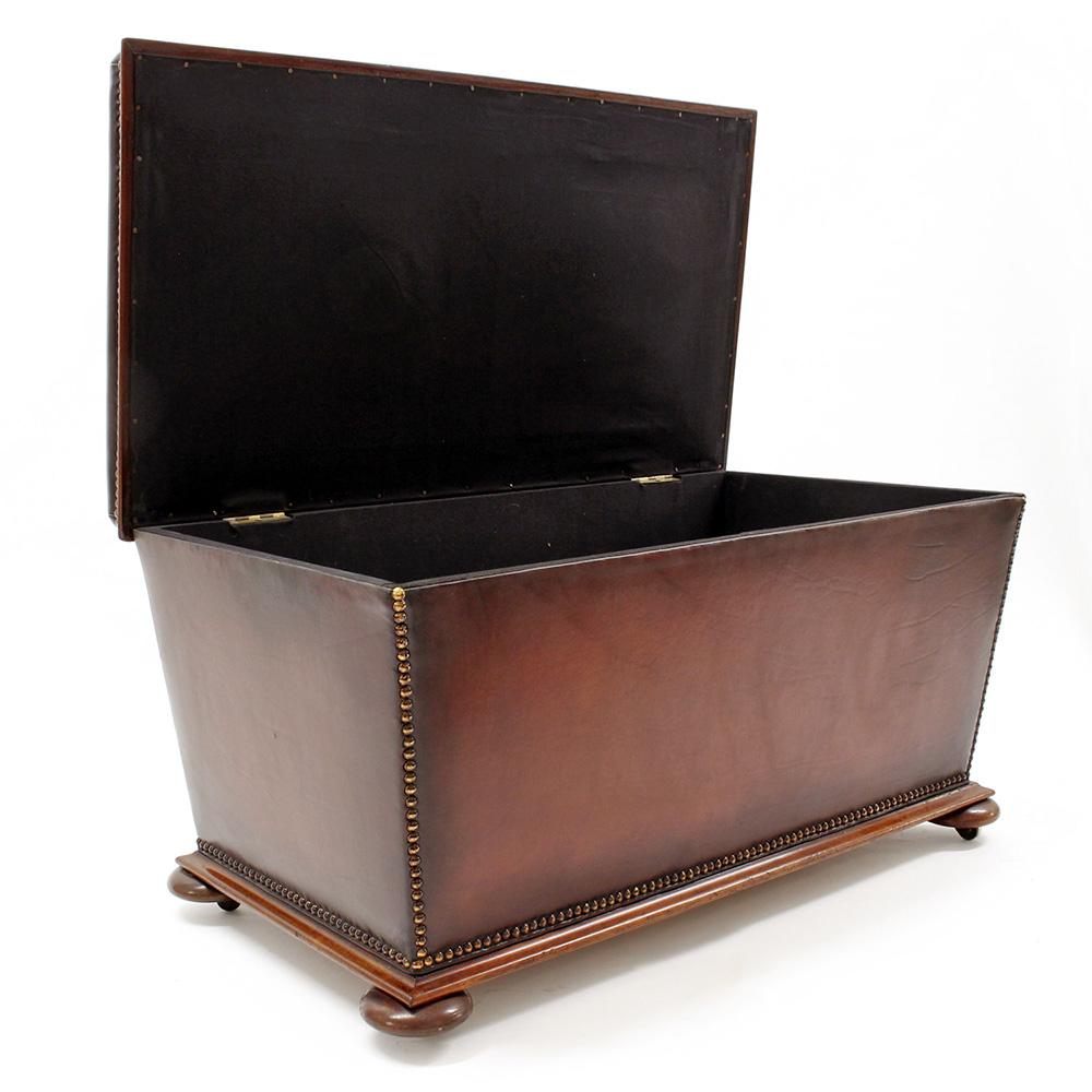 Ottomans Ornate Mahogany Ottoman: Mahogany Framed Brown Leather Ottoman On Bun Feet
