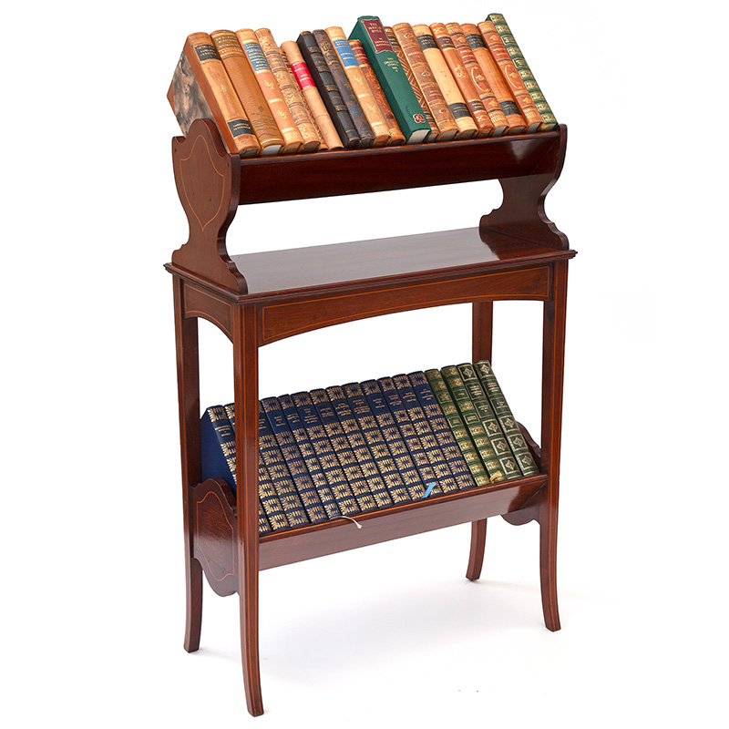 Two Tier Mahogany Book Trough with Boxwood Stringing (c.1900)