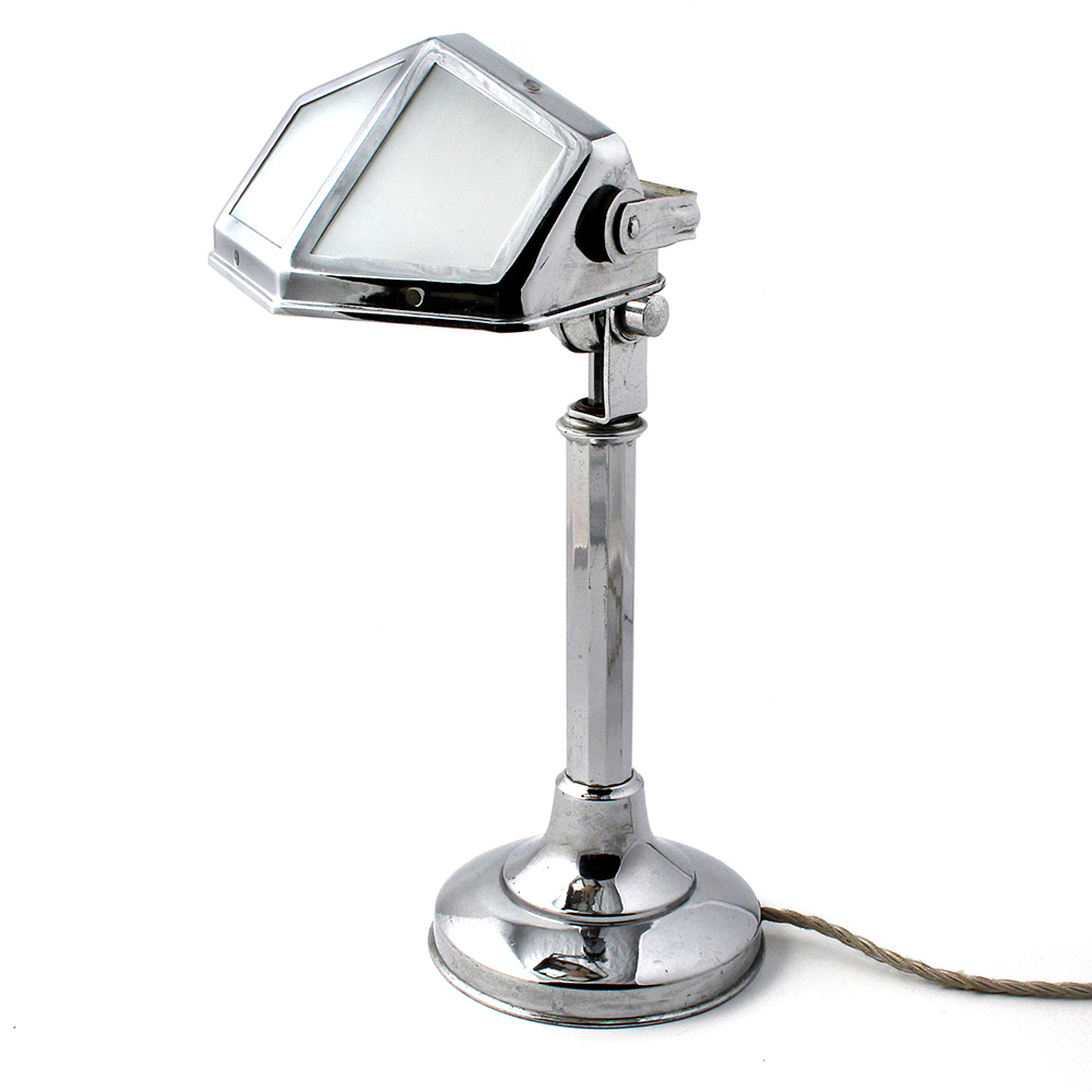 Rare French Chrome and Milk Glass Adjustable Desk Light by Pirouette