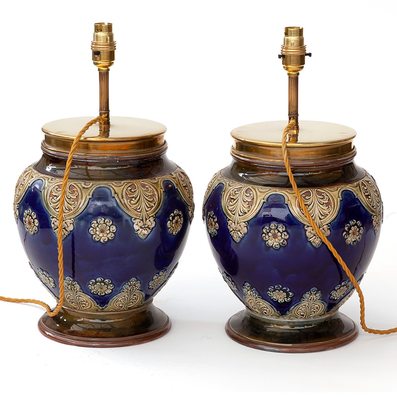 Rare Pair of Royal Doulton Tobacco Jars Converted into Lamps