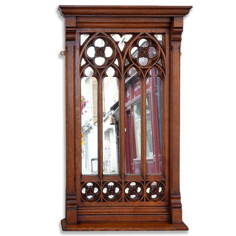 Fabulous polished oak gothic revival Puginesque sectioned mirror. c.1865.