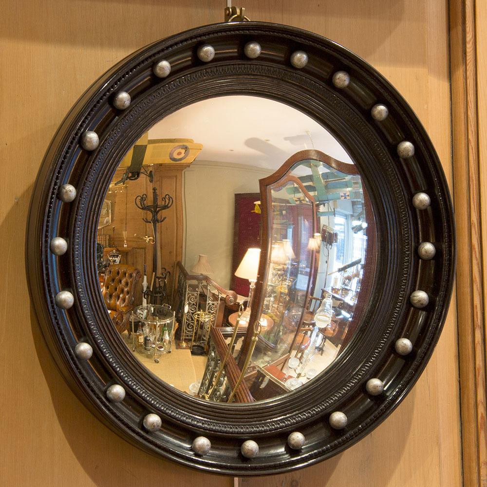 Ebonised convex mirror with silver balls 16.5