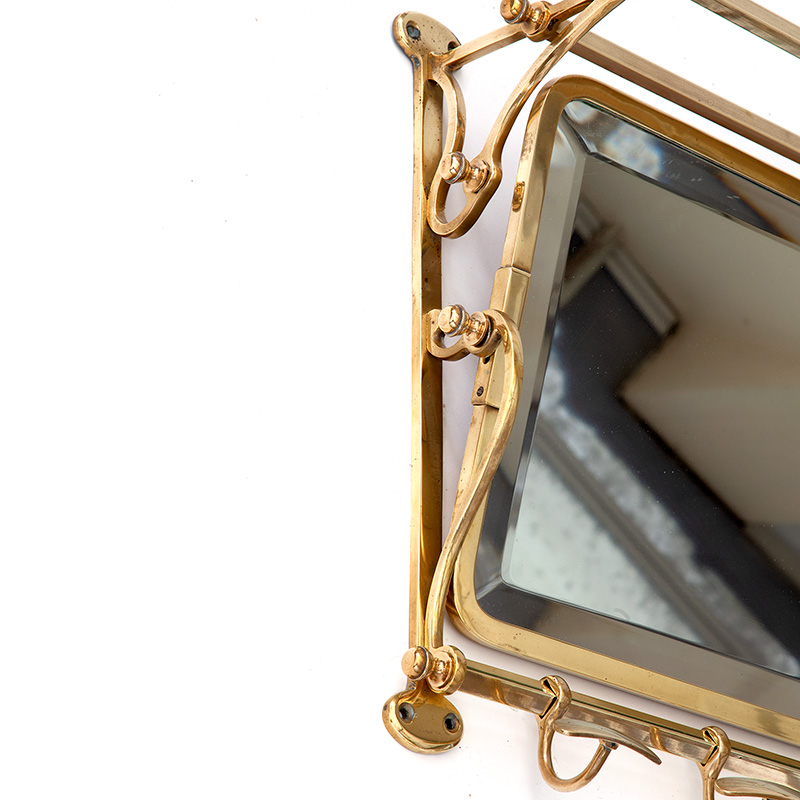 French Polished Brass Portmanteau with Deep Bevelled Adjustable Mirror