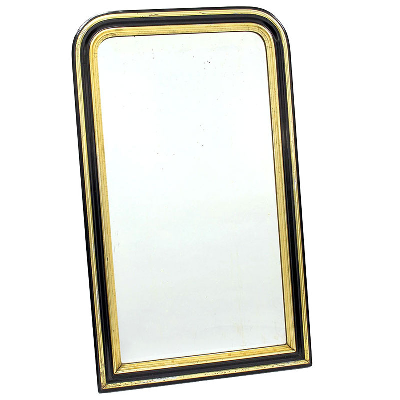 French Pier Mirror with Original Plate in Ebonised and Gilded Frame