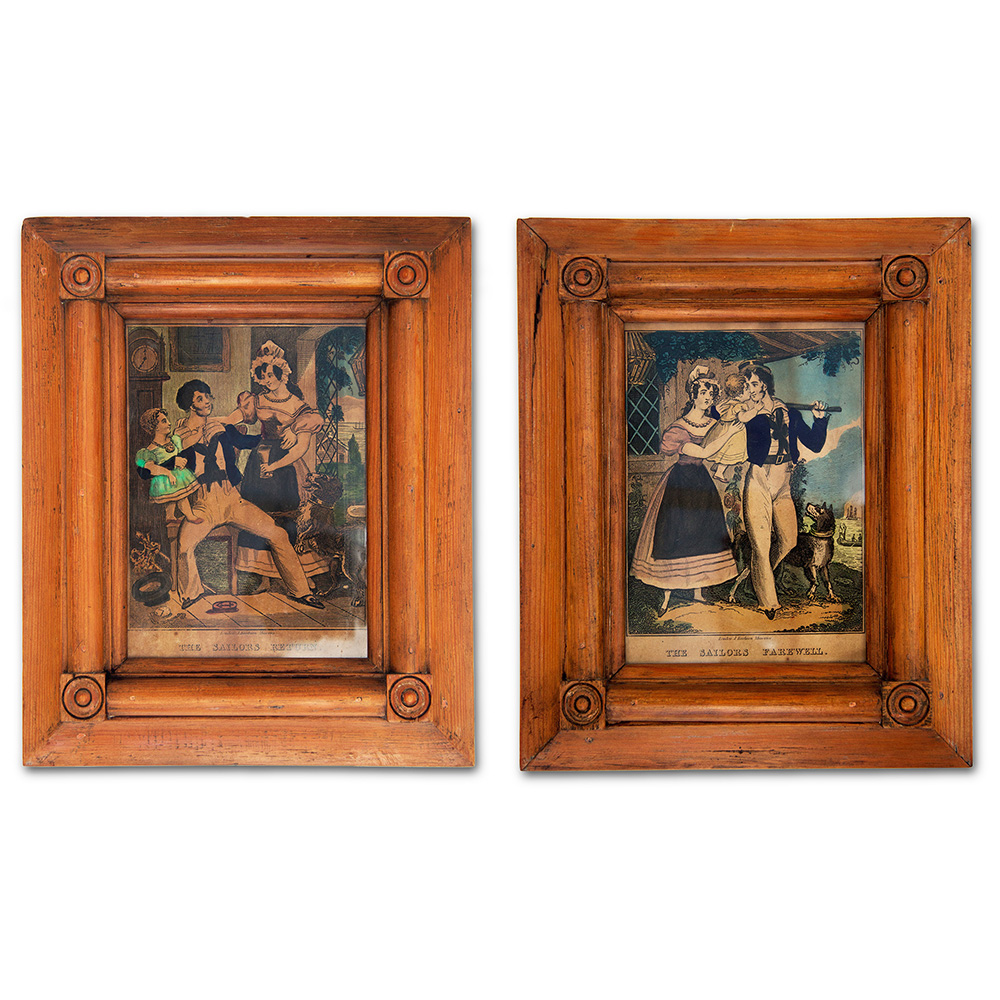Pair of antique hand coloured prints depicting `The sailors farewell` and `The sailors return` in their original pine frames.