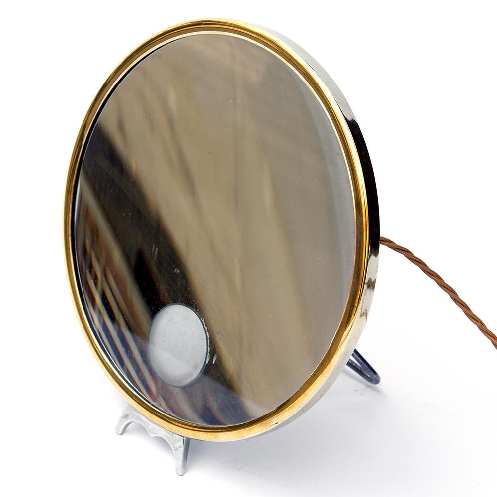 Brass magnifying freestanding mirror Brot (rewired) (c.1930).