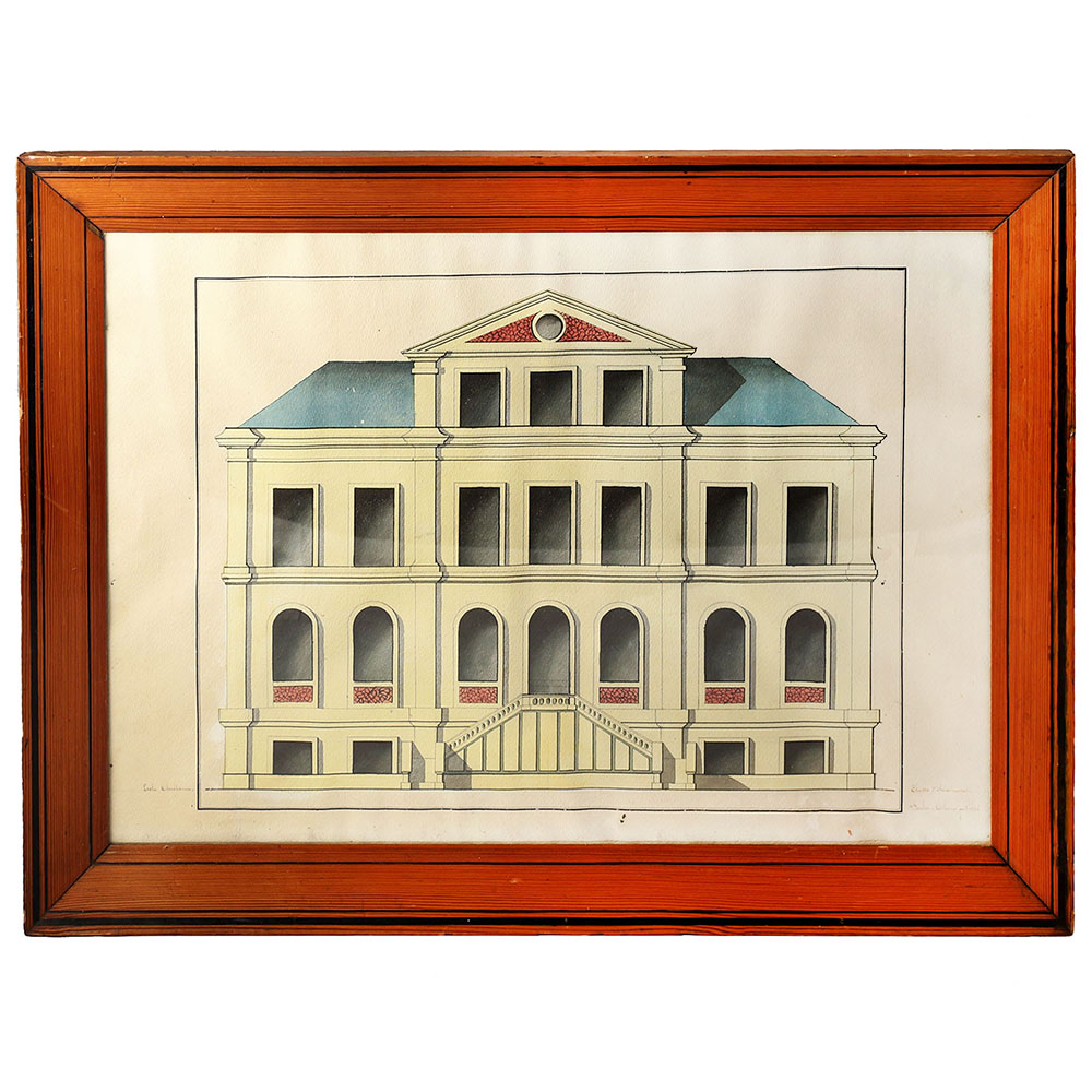 Antique Pen and Ink Hand Coloured Architectural Drawing