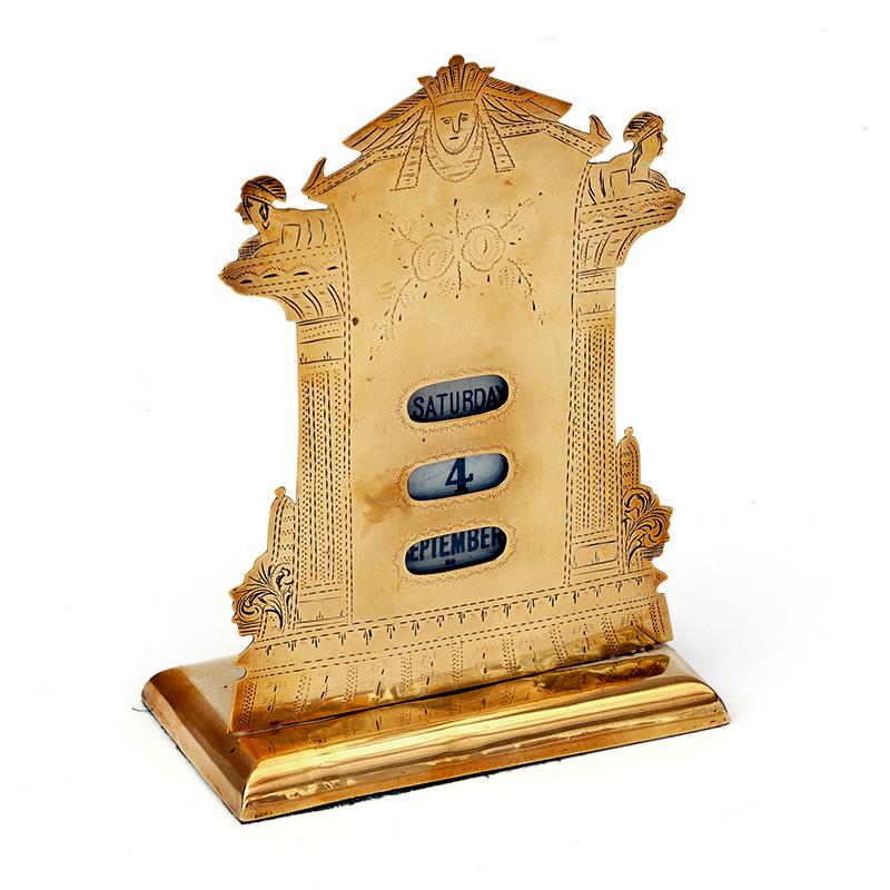Rare Brass Presentation Perpetual Calendar with Egyptian Decoration