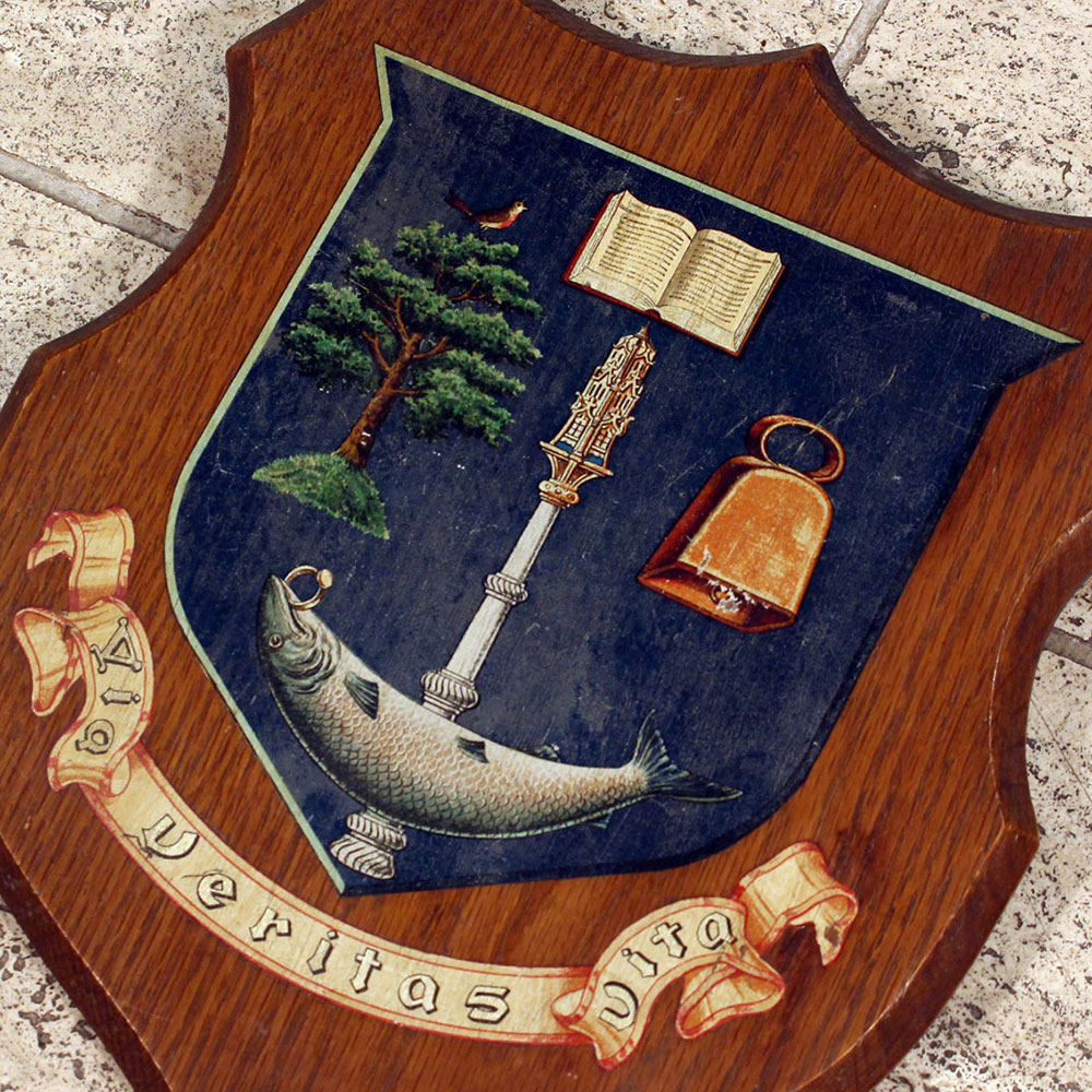 Oak College Shield with Transfer Decoration and Latin Inscription