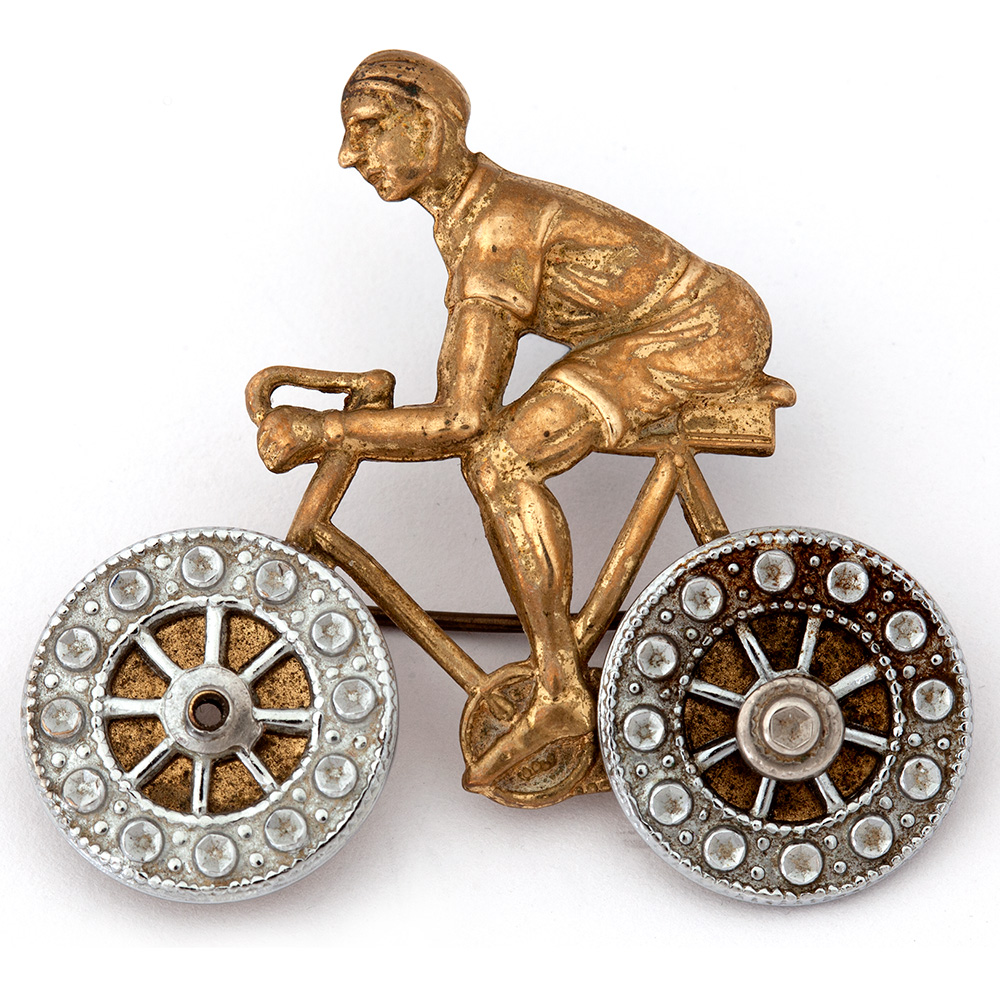 Charming Pressed Brass Cycling Brooch with Working Wheels