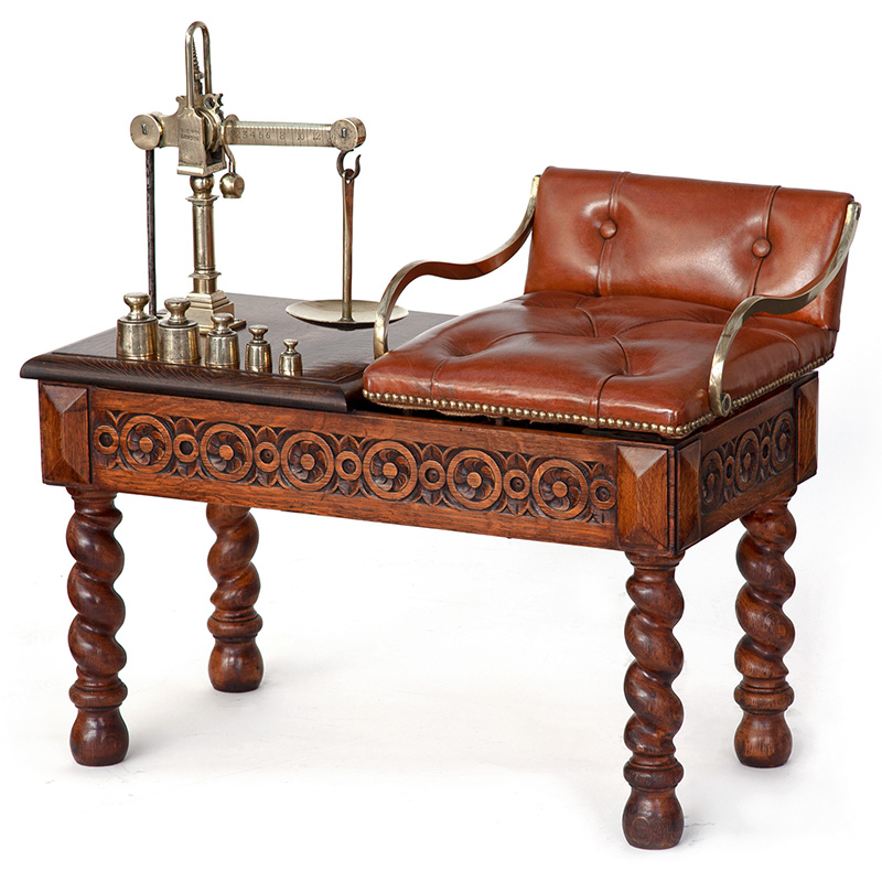 Oak Jockey Scale by Youngs of London with Leather Seat and Full Set of Brass Weights