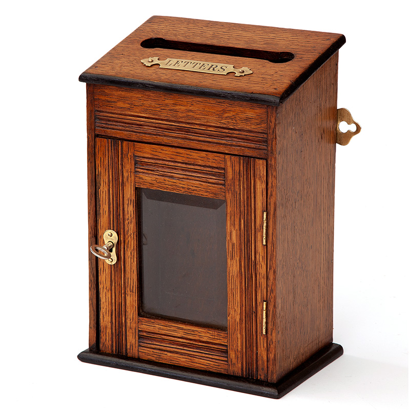 Polished Oak and Brass Wall or Table Mounted Letter Box (c.1910)
