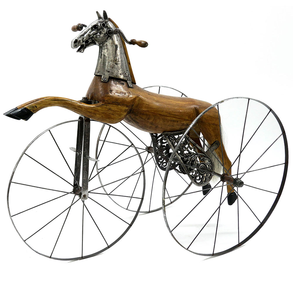 Unusually large antique French iron and fruitwood chain driven velocopede. Circa 1880.