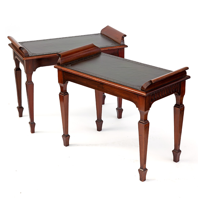 Pair of Antique Mahogany Scroll End Benches or Side Tables