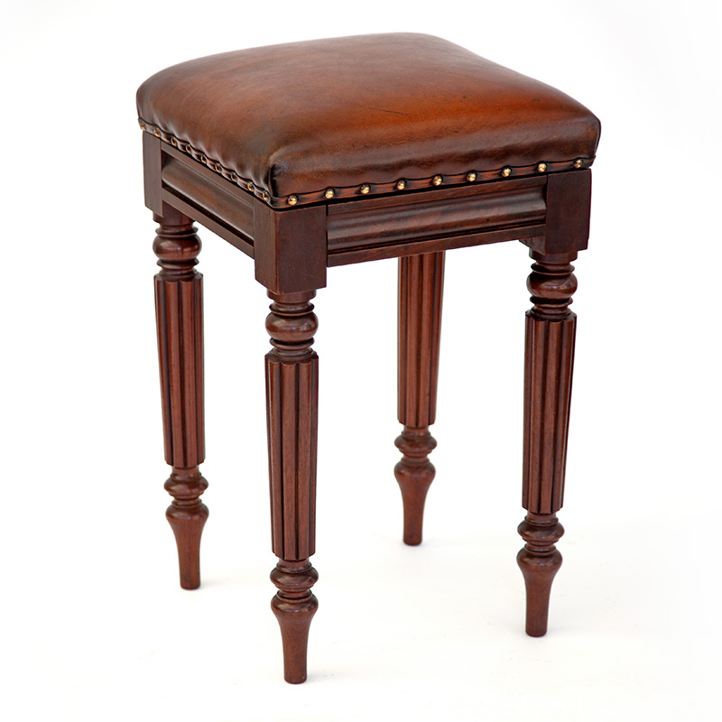 William IV Mahogany High Stool with Turned and Reeded Tapering Legs