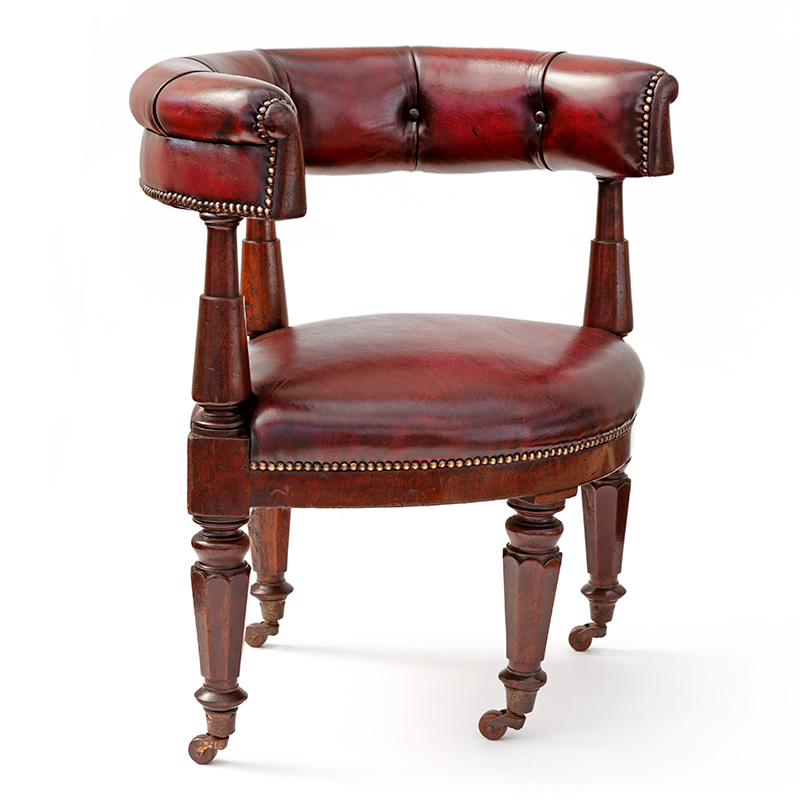 Rare Mahogany and Red Leather Gentleman's Gaming Chair
