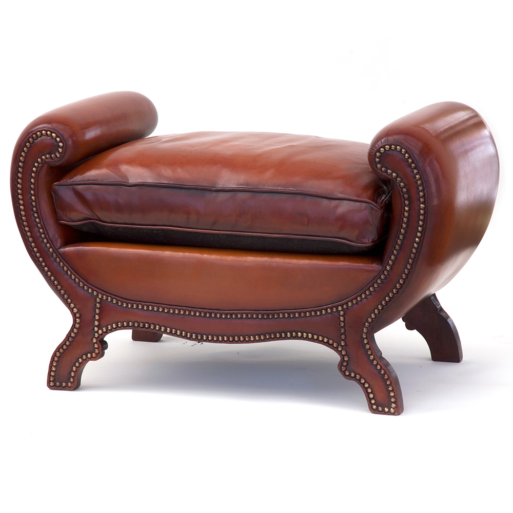 Regency style swan necked leather bench with cushion. Late 20th C.
