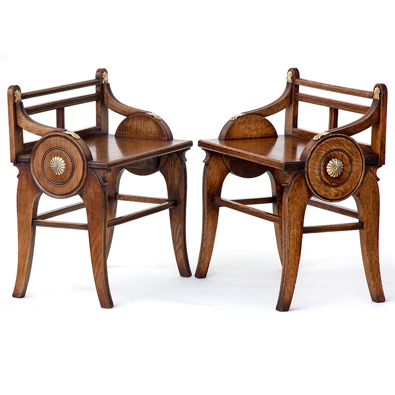 Pair of Brass Mounted Oak Hall Benches in the Manner of James Shoolbred & Co