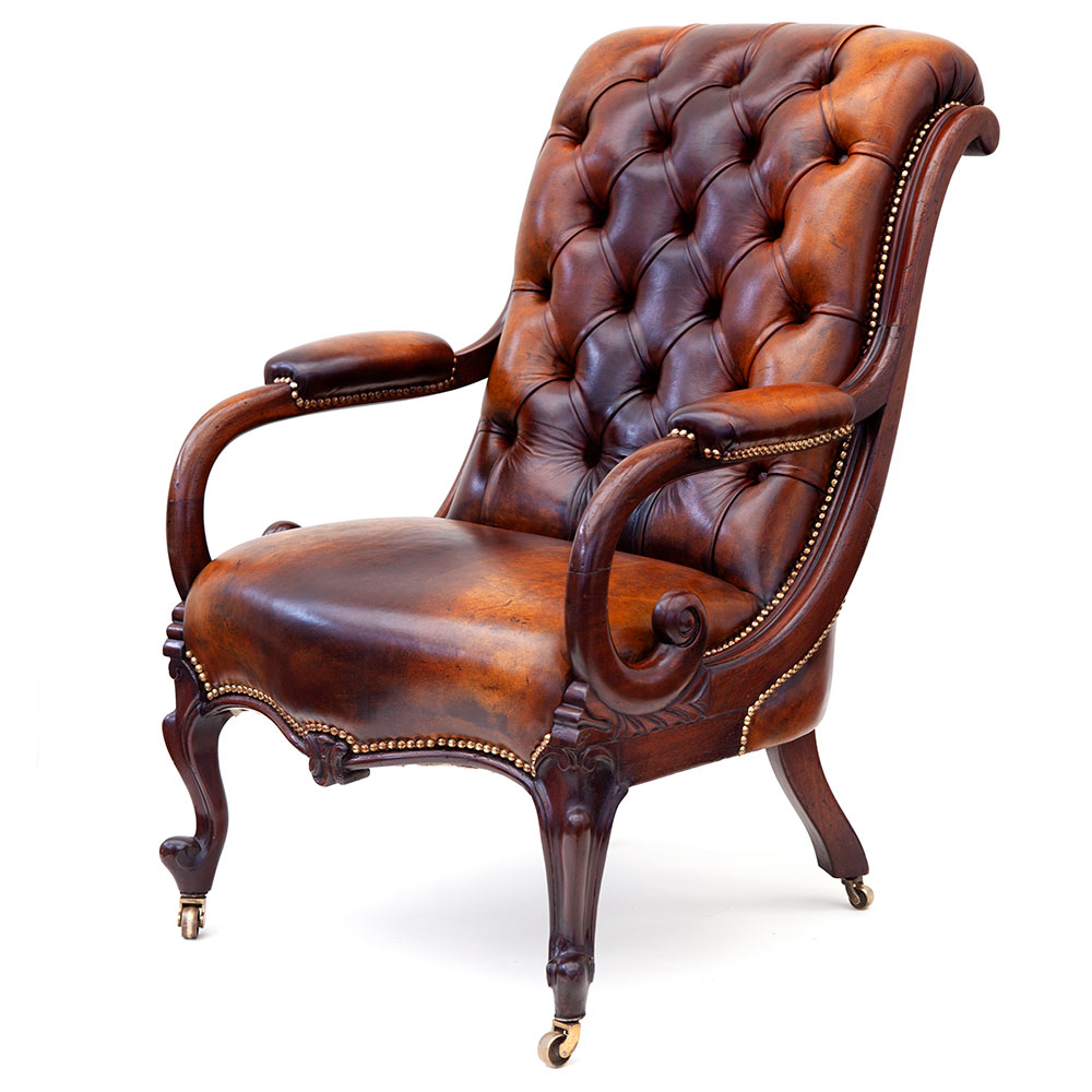 Mahogany Framed Deep Buttoned Leather Library Armchair