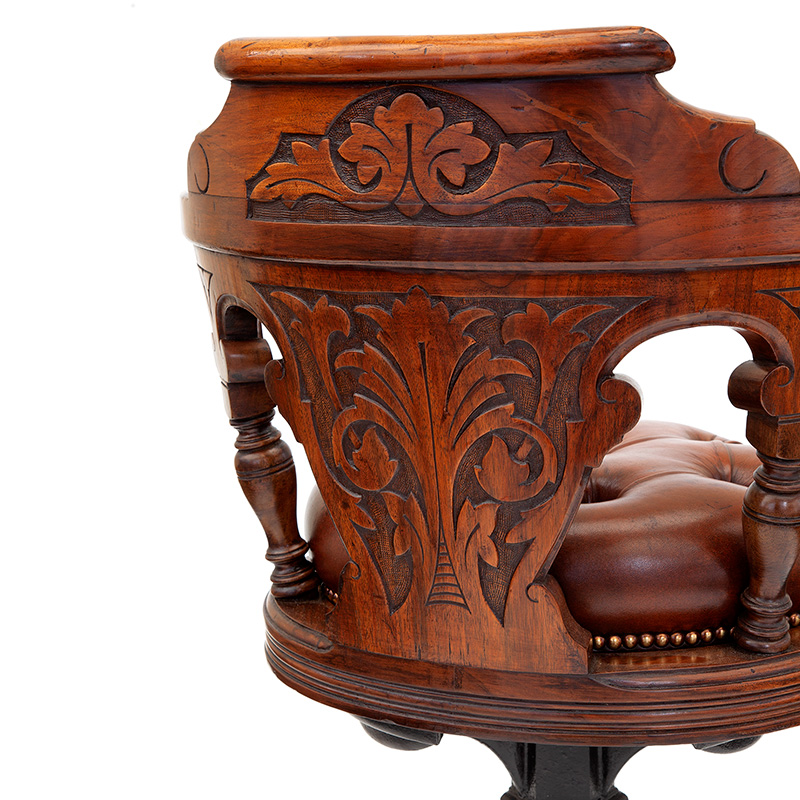 Antique Heavily Carved Mahogany Revolving Ships Chair