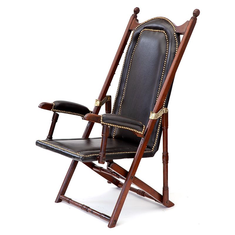 Antique Folding Teak and Black Leather Low Steamer Chair