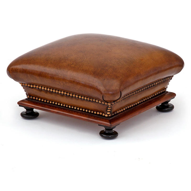 Chunky Antique Mahogany Framed Releathered Footstool