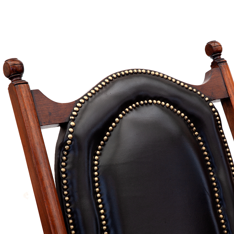 Teak and Black Leather Folding Steamer or Campaign Chair